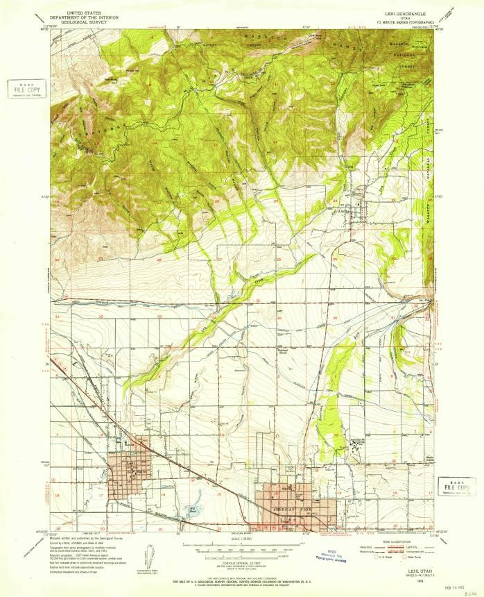 Lehi, UT, 1:24,000 quad, 1951, USGS
