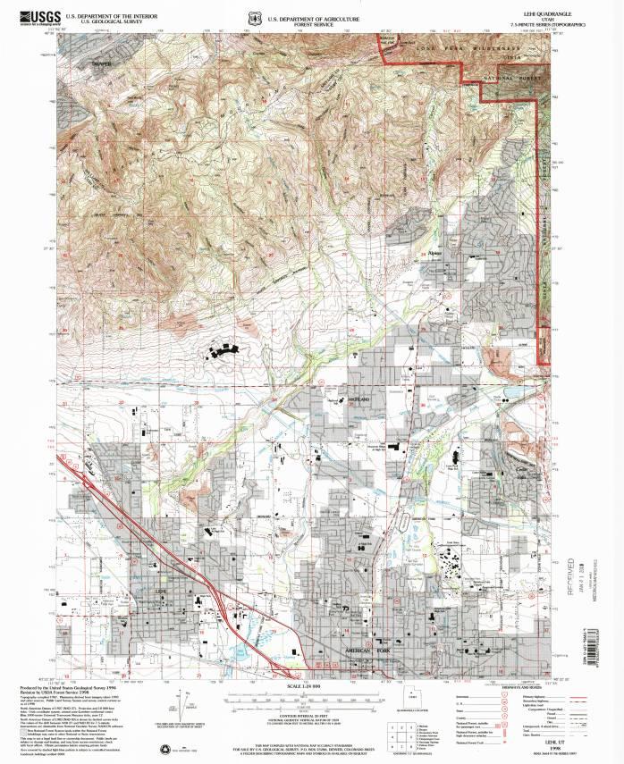 Lehi, UT, 1:24,000 quad, 1998, USGS